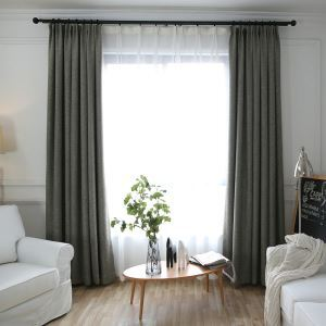 Linen Blackout Curtain Modern Minimalist Solid Color Room Darkening Living Room