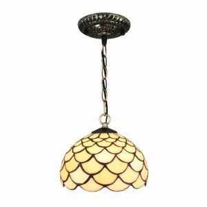 8inch European Pastoral Retro Style Pendant Light Scale Pattern Glass Shade Bedroom Living Room Kitchen Light