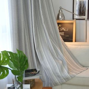 Stripe Sheer Curtain Minimalist Jacquard Grey Voile Curtain Panel Living Room