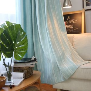 Blue All-match Voile Curtain Stripe Jacquard  Sheer Curtain