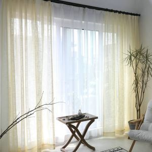 Beige Sheer Curtain Breathable Solid Color Voile Curtain Panle Living Room Bedroom