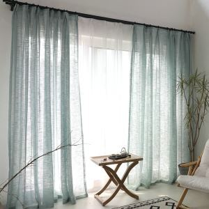 Blue Sheer Curtain Breathable Solid Color Voile Curtain Panle Living Room Bedroom