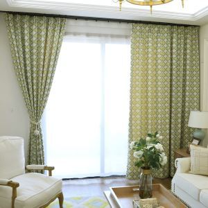 Lattice Blackout Curtain Jacquard Yellow and Green Room Darkening Curtain Panel Living Room