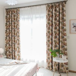 American Style Max Blackout Curtain Thicken Contrast Color Jacquard Room Darkening Curtain Panel