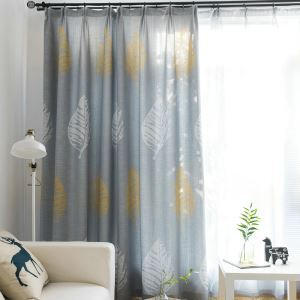 Gey Leaf Room Darkening Modern Minimalist Blackout Curtain Living Room