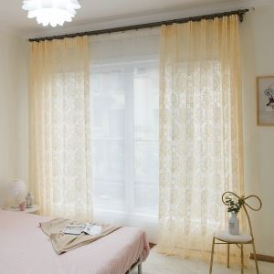 Flower Sheer Curtain European Classic Jacquard Voile Curtain Panel Bedroom