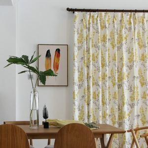 Linen Room Darkening American Pastoral Yellow Flower Blackout Curtain Bedroom