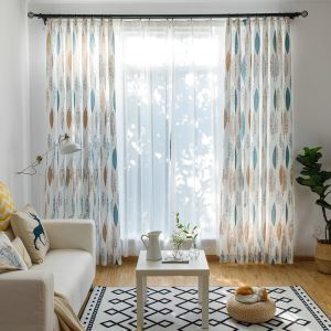 Contrast Color Room Darkening Curtain Environmental Protection Leaf Printing Blackout