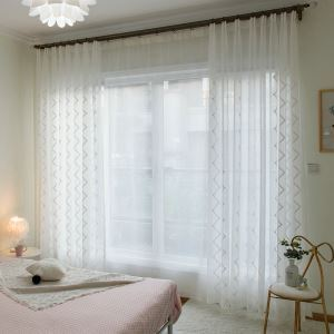 Embroidery White Sheer Curtain Minimalist Fashion Living Room Bedroom Window Treatment