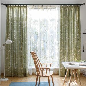 Cotton and Linen Blackout Curtain American Printing Breathable Window Curtain Panel Bedroom