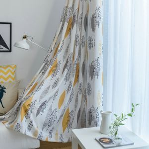 Environmental Protection Blackout Curtain American Style Leaf Printing Room Darkening Bedroom