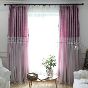Romantic Lace Blackout Curtain Jacquard Kids Room Window Treatment