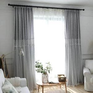 Romantic Lace Room Darkening Curtain Minimalist Jacquard Window Treatment Kids Bedroom
