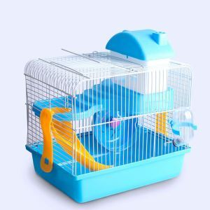 Gamster Cage Habitat Shelter Playground 2 Floors Blue