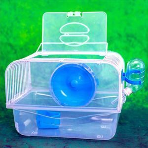 Portable Hamster Cage House Hamster Outdoor Travel Carrier Transparent