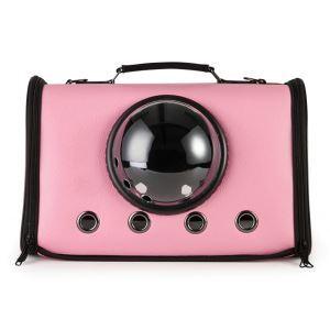 Space Capsule Pet Carrier PU Portable Pet Carrier Handbag Pink