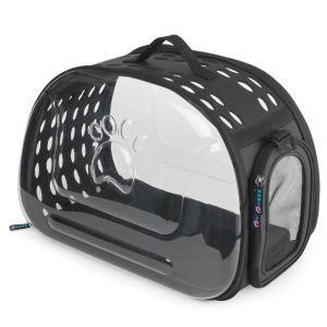 Foldable Transparent Pet Carrier Outdoor Pet Travel Bag Black
