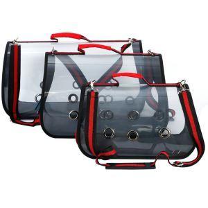 Portable Pet Bag Transparent Pet Carrier Breathable Red M