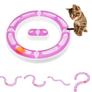 Interactive Kitten Toy Hide and Seek Ball Removeable Circular Turbo Tracks Turnable Disk for Fun Puzzle Training