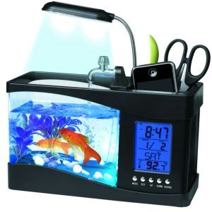 Desktop Fish Bowl Mini Fish Tank Aquarium with LED Clock Black