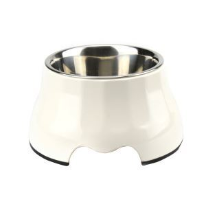 High Quality Dog Bowl Detachable Antiskid Stainless Steel Pet Feeding White