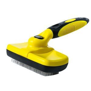 Pet Grooming Brush Pet Hair Remover Slicker Brush Self  Cleaning Deshedding Tool Yellow
