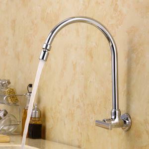 Chrome Wall Mounted Mixer Tap Swivel Spout Faucet 1102