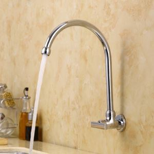 Swivel Spout Faucet Wall Mounted Chrome Mixer Tap 1102