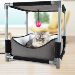DIY Multi-functional Cat Jumping Board with Cat Bed and Dangling Toy