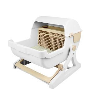 Luxury Cat Toilet Semi Automatic Quick Cleaning Litter Box Beige