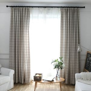 Jacquard Room Darkening Curtain Japanese Minimalist Lattice Blackout Window Treatment