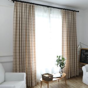 Minimalist Blackout Curtain Jacquard Cream-coloured Lattice Room Darkening