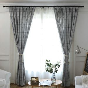 Jacquard Blackout Curtian Japanese Minimalist Lattice Room Darkening for Living Room Grey
