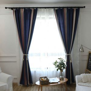 Breathable Blackout Curtian Blue Leaf  Jacquard Room Darkening Curtain Panel for Living Room