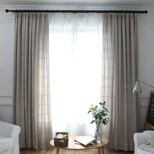 Living Room Blackout Curtain Large Lattice Cotton and Llinen Room Darkening Curtian Panel