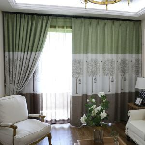 Tree Printing Black Out Curtain Minimalist Room Darkening Curtian for Kids Room
