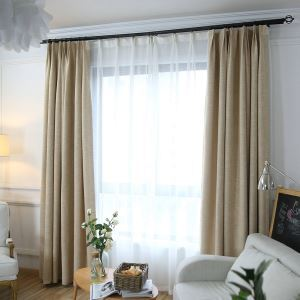 Solid Color Room Darkening Curtain Japanese Minimalist Blackout Curtain for Living Room