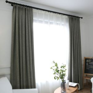 Thick Blackout Curtain American Style Modern Room Darkening Curtian Panel