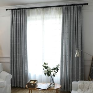 Cotton an Linen Blackout Curtain Large Lattice Jacquard Room Darkening Curtain for Living Room