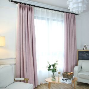 Pink Room Darkening Curtain Solid Color Blackout Curtain for Kids Room
