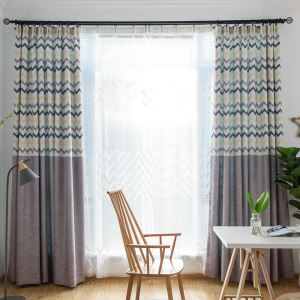 Thick Blackout Curtain European Classic Wave Printing Room Darkening Curtain for Bedroom