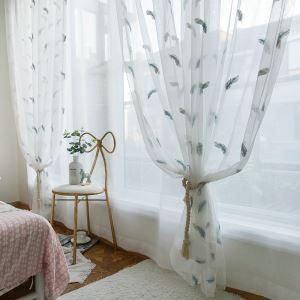 Embroidered Sheer Curtain Minimalist Breathable fCurtain Panel for Bedroom