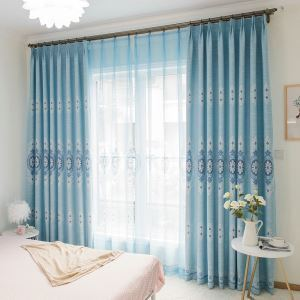 European Classic Room Darkening Curtain Flower Printing Living Room Curtain Panel