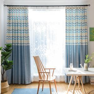 High Blackout Curtain Wave printing Room Darkening Curtian for Living Room