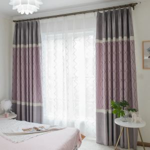 Modern High Blackout Curtain Minimalist Jacquard Bedroom Window Treatment