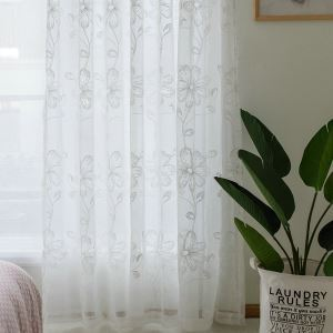 Flower Sheer Curtain American country Jacquard Curtain Panel for Bedroom
