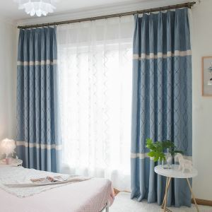 Living Room High Blackout Curtain Blue Jacquard Window Treatment