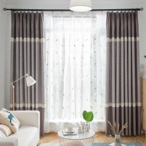 Modern Room Darkening Curtain Minimalist Blue Bedroom Blackout Window Curtain