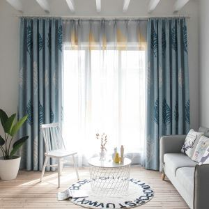 Bue Leaf Blackout Curtain  Modern Minimalist Window Treatment