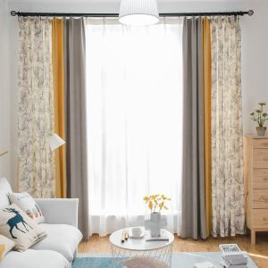 Contrast Color Blackout Curtain American Printing Curtain Panel